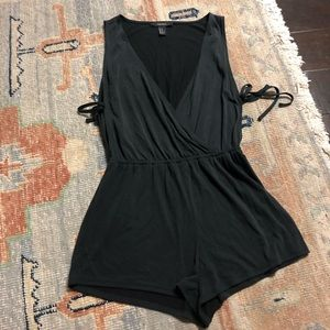 Forever 21 Charcoal Grey Side Tie Romper Medium